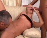 Blonde chick rides two dicks