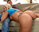 Huge ass blonde rides on cock